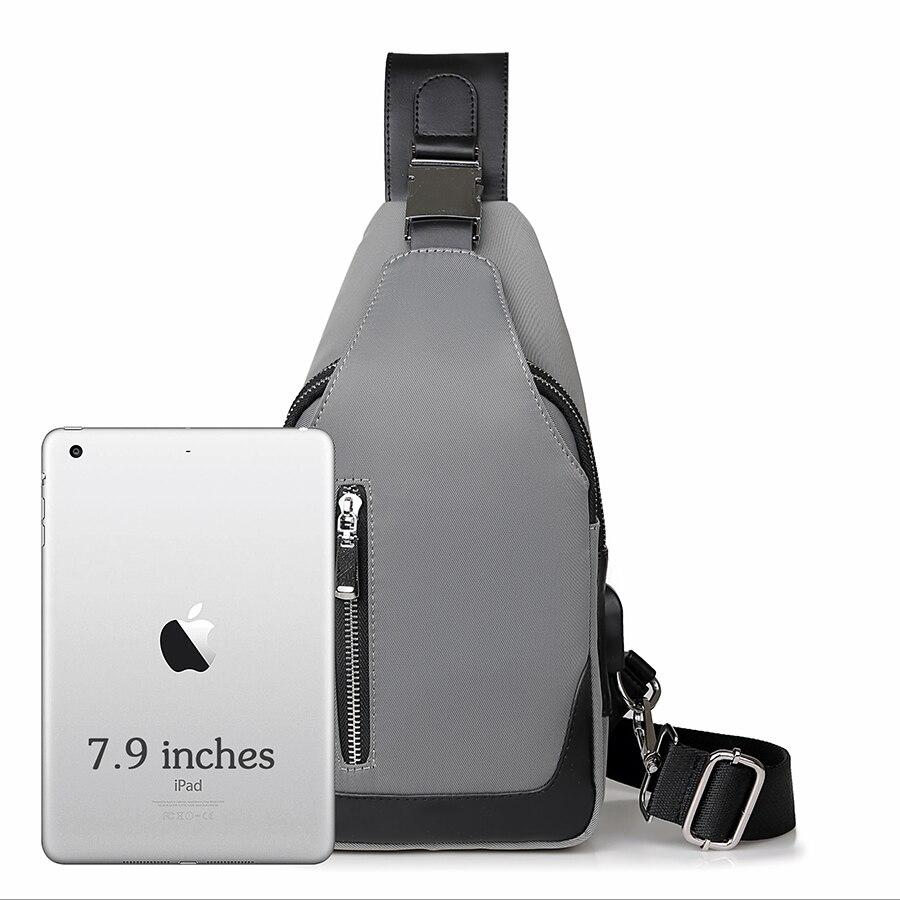 Bolso de hombro bandolera para hombres mensajero Sling Sport Travel Cargador USB