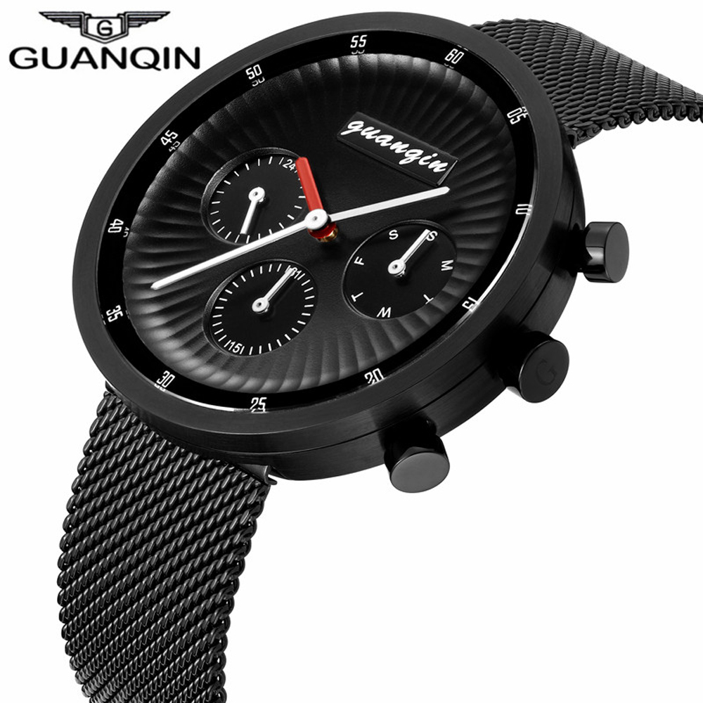 2018 GUANQIN Top Brand Luxury Watches Men Business Mesh Strap Clock Men Sport Full Steel Quartz Wrist Watch relogio masculino гибкий кабель для мобильных телефонов flex cable ribbon for iphone 4s 10 flex iphone 4s aac002100