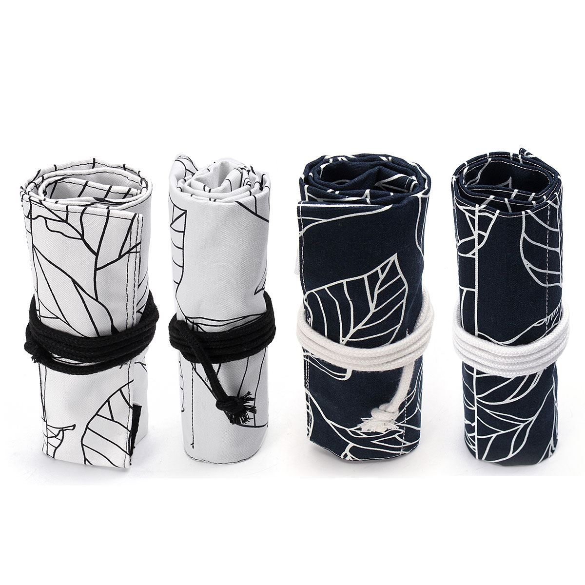 Kicute 36/48 Holes Black White Leaves Canvas Roll Up Pencil Case Pen Brush Bag Holder Storage Pouch School Supplies big capacity high quality canvas shark double layers pen pencil holder makeup case bag for school student with combination coded lock