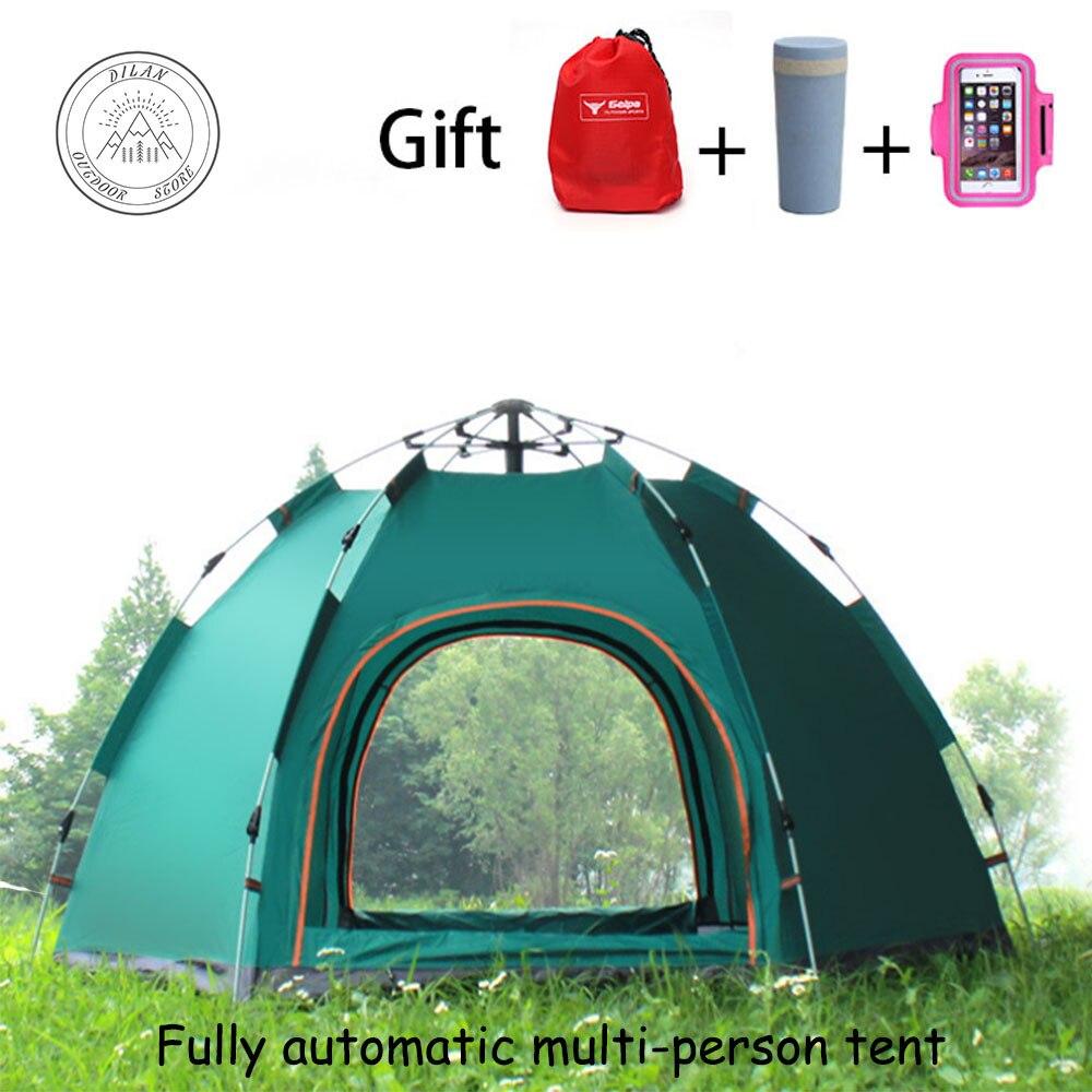Tentes de camping en plein air famille Complète Nécessaire automatique tente extérieure 3-5 personnes hexagonal tente camp protection contre la pluie tente de pêche