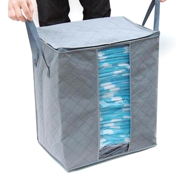 65L Складной Bamboo Уголь Волокна Молнии 3-слойная Одежда Одеяло Мешок Хранения Организатор Box (Серый)