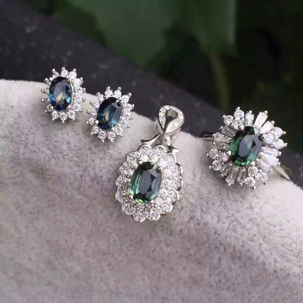 100% QualitäT Natürlichen Saphir Set, 925 Silber, Feine Sapphire, Intensiven Feuer, Ring Stud Ohrringe Weich Und Rutschhemmend