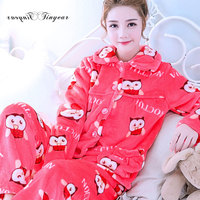 Tinyear Good Quality Women S Warm Pajamas M XXL Rose Red Animal Pattern Girl S Flannel