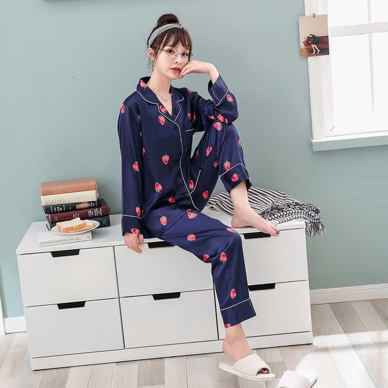 866dd98e281 ... Women Silk Satin Pajamas Pyjamas Set 2019 Cute Design 2 Pcs Night  Shirts Pants Home Wear ...