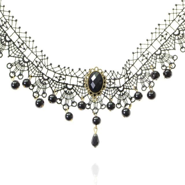 shunyun 30pcs Classic Black Vintage Water Drop Bead Lace Necklaces & Pendants Choker Statement For Women Jewelry Accessories