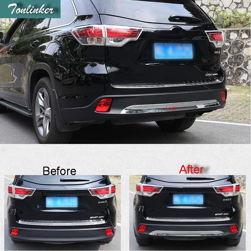 Tonlinker 1 PCS DIY Car styling NEW ABS chrome bright rear bumper bar light box Stickers for TOYOTA HIGHLANDER 2015 accessories