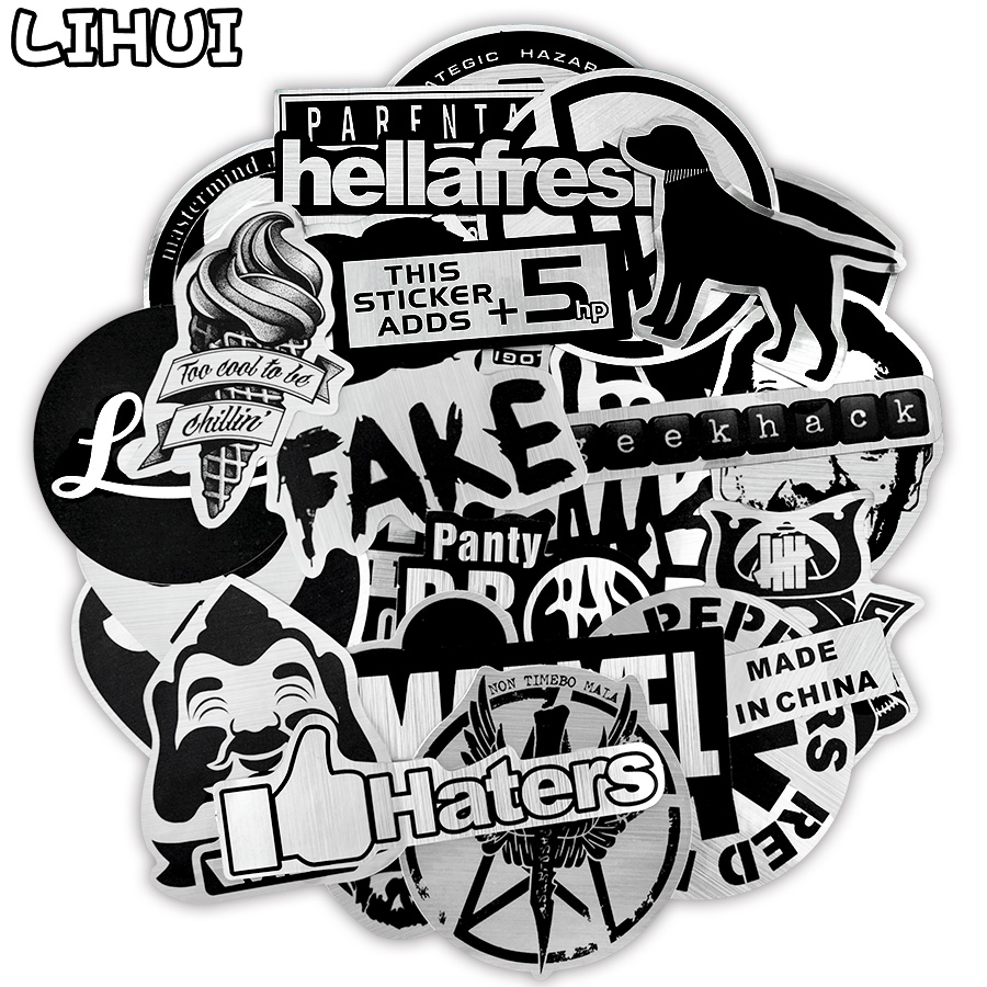 50 PCS Metallic Color Black And White Sticker Toys For Children Brand Punk JDM Stickers To DIY Laptop Suitcase Skateboard Car