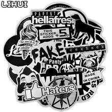 50 PCS Metallic Color Black and White Sticker Toys for Children Brand Punk JDM Stickers to DIY Laptop Suitcase Skateboard Car(China)