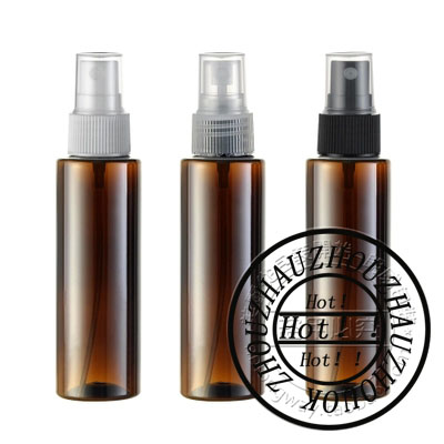 100ml X 50 brown cylinder spray pump perfume plastic bottle for cosmetics floral water bottles containers