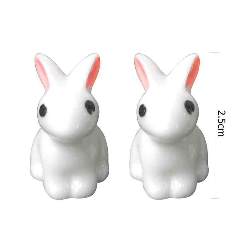 Mini Ornamento Do Jardim Do Coelho Bonito Estatueta Em Miniatura Planta Pote de Fadas Resina Sintética Modo de Mão-pintado Mini Animal Estatueta De Fadas