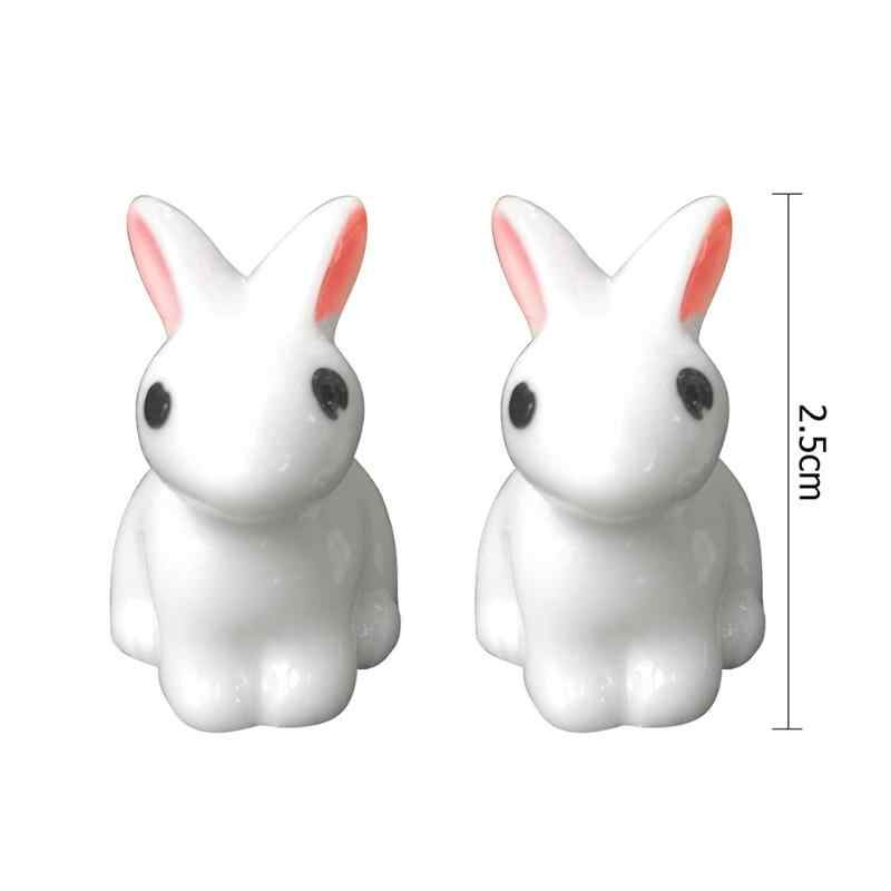 Mini Rabbit Garden Ornament Cute Miniature Figurine Plant Pot Fairy Synthetic Resin Hand-painted Mini Animal Fairy Figurine Mode