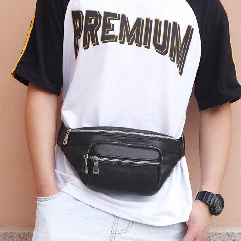 Nouveau sac Fanny décontracté pour hommes sac de taille en cuir véritable sac de ceinture sac de ceinture téléphone portable pochette à glissière Packs ceinture