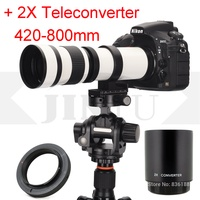 JINTU White 420 800mm Telephoto Lens +2x teleconverter 420 1600mm for Nikon D40 D60 D3500 D3100 D3200 D3300 D3400 D5500 D5600 D4