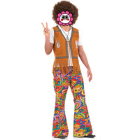 Abbille Ladies Mens 60s 70s Retro Hippie Go Go Girl Disco Costume Fancy Dress Party Couple Costumes Brown Show Clothing Costumes