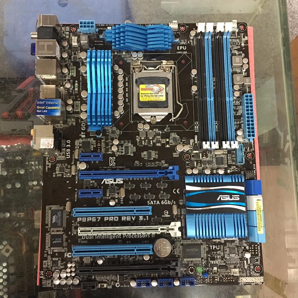 Free shipping original motherboard ASUS P8P67 PRO REV3.1 LGA 1155 DDR3 32GB USB3.0 for I3 I5 I7 P67 desktop boards