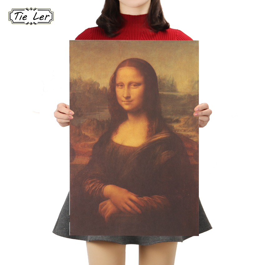 TIE LER Mona Lisa Leonardo Da Vinci Smile Famous Paintings Kraft Paper Poster Home Decorative Poster Retro Painting Wall Sticker