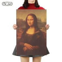 TIE LER Mona Lisa Leonardo Da Vinci Smile Famous Paintings Kraft Paper Poster Home Decorative Retro Painting Wall Sticker