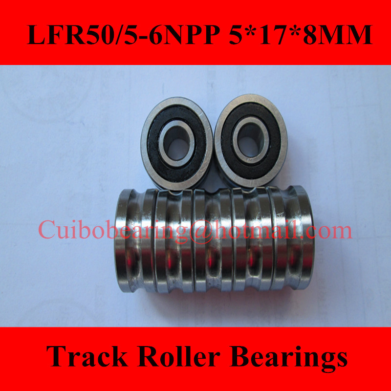 Free Shiping 2PCS LFR50/5-6NPP LFR50/5  Groove Track Roller Bearings size:5*17*8mm