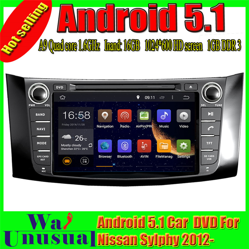 WANUSUAL 1024*600 8 Octa Core 32G 4G RAM Android 6.0 Car Video Player GPS for Nissan Sentra (North America)/Pulsar (Australia)