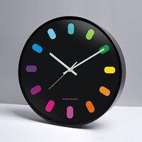 Colour Music Clock Mute Wall Decoration Clock Birthday Present Creative Children's Room Classic Round Wall Clock Wanduhr 50w253