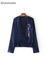 Velvet Kimono Women Sequinned Patch Detail Crossover V Neck Long Sleeve Loose Autumn New Blouses