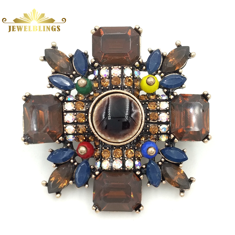 Fantasy Antique Brown Crystal Maltese Cross Broaches Gold Tone Colored Stone Deco Floral Religious Style Cross Brooch Pins Women