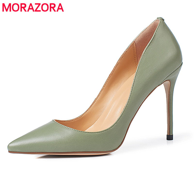 MORAZORA 2018 New fahion high quality brand pointed toe women pumps stiletto high heels office lady wedding dress shoes woman high quality suede wedding party dress shoes women pointed toe stiletto brand pumps bow fringe embellished high brands