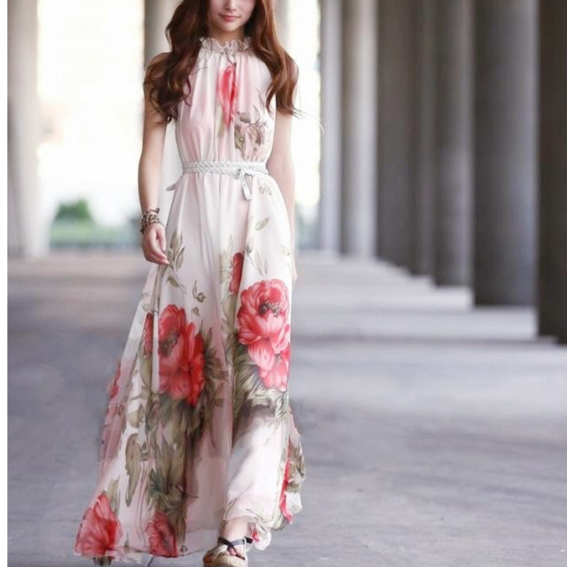 CA Mode Vogue High Neck Ruffled Chiffon Pleats Long Dresses Women Floral Maxi Sleeveless Holiday Beach Long Dress floor length