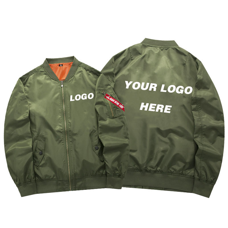 US Size Custom Logo Design New Men's Military Bomber Jacket Coat Unisex Thicken Army Tactical Zipper Flying Jacket Outerwear