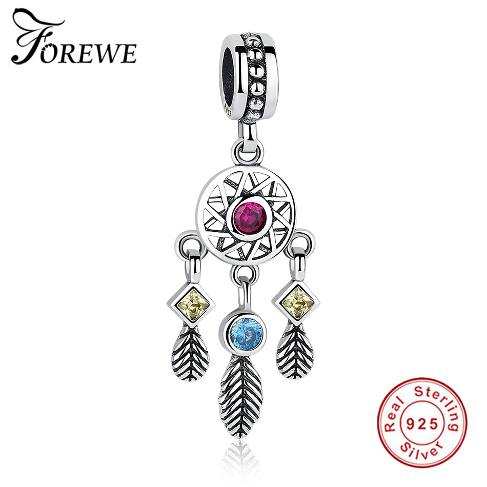 Forewe 925 Silver Enchanted Forest Dreamcatcher Gift Handmade Charm Beads Fit Pandora Bracelet Dream Catcher Net With Feathers O
