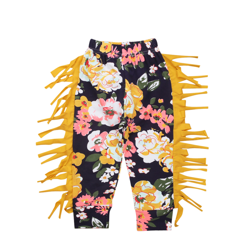 1-4 Years Spring Baby Girls Leggings Floral Print Casual Tassels Pants for Kids Girls Clothing Cotton Children's Trousers