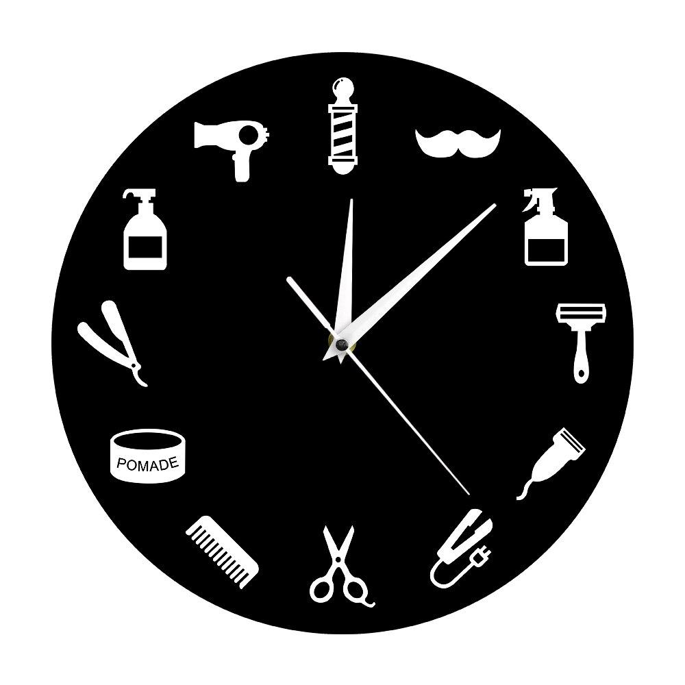 1 Stuk Kapper Wandklok Modern Design Kapper Gereedschappen Hairstylist Business Teken Schoonheidssalon Home Decor Muur Horloge Tijd Klok