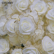 30pcs 4cm Gold Silver Lace Foam Rose Artificial Silk Flowers Wedding Decoration DIY Scrapbooking Craft Accessories Wreath Flower