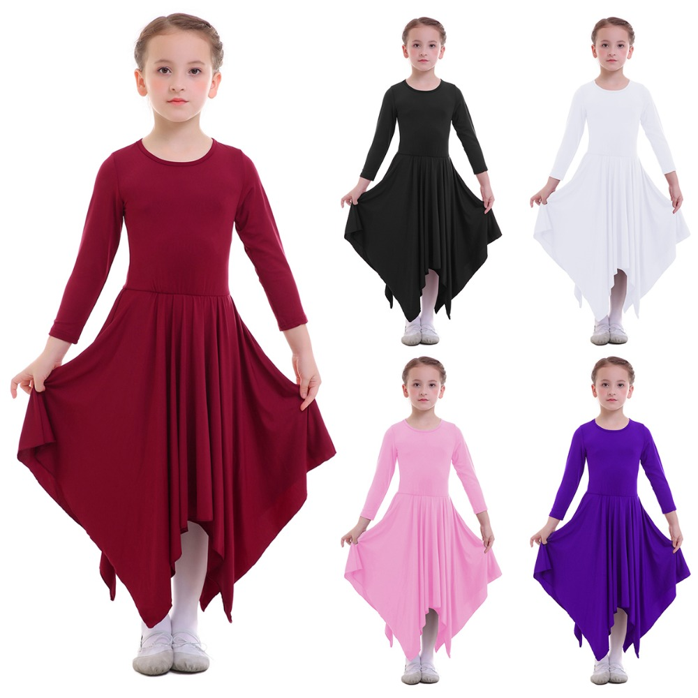 Ballet Dress Praise Liturgical Dance Dress For Girls Child Pleated Swing Long Praise Dress Metallic Splice Ankle Length Dress Stage & Dance Wear Novelty & Special Use