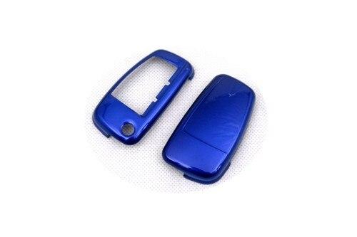 Блеск металлик Цвета жесткий Пластик без ключа дистанционного флип чехол ключ защиты Обложка для Audi - Название цвета: Синий