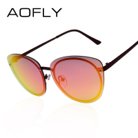 AOFLY Round Sun Glasses For Women Rimless Glasses Cat Eye Sunglasses Vintage Brand Designer Coating Glasses