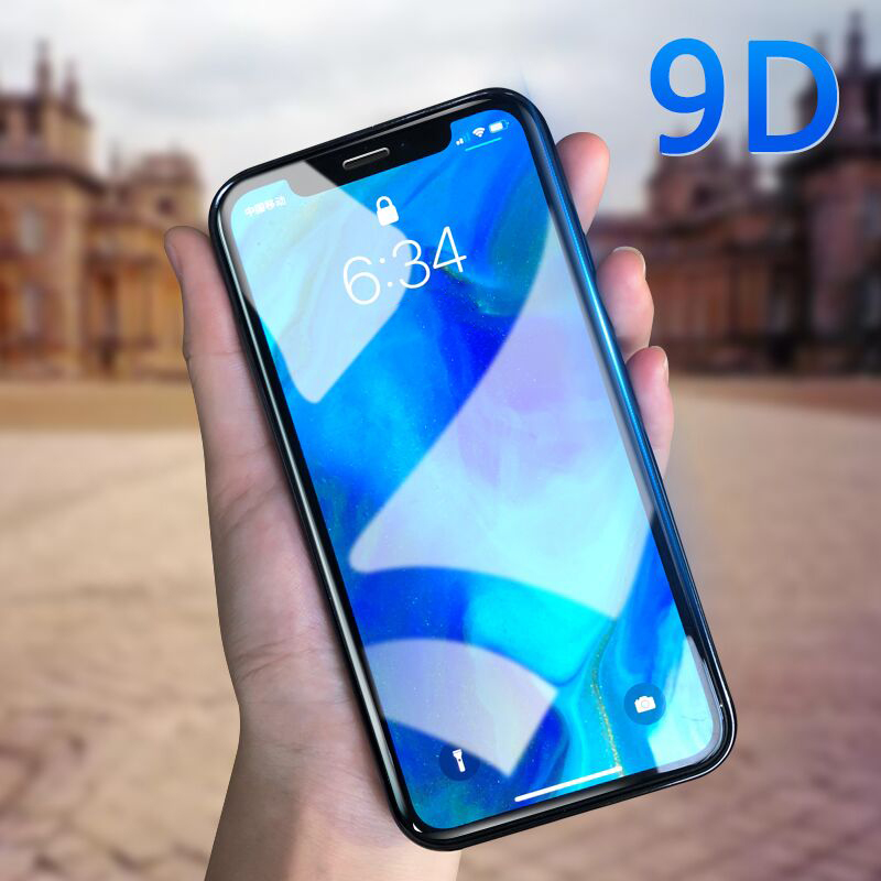 9D Glass For IPhone 11 Pro XS Max  Screen Protector Curved Edge Full Cover Protective Glass On The For IPhone X XR 6 6s 7 8 Plus