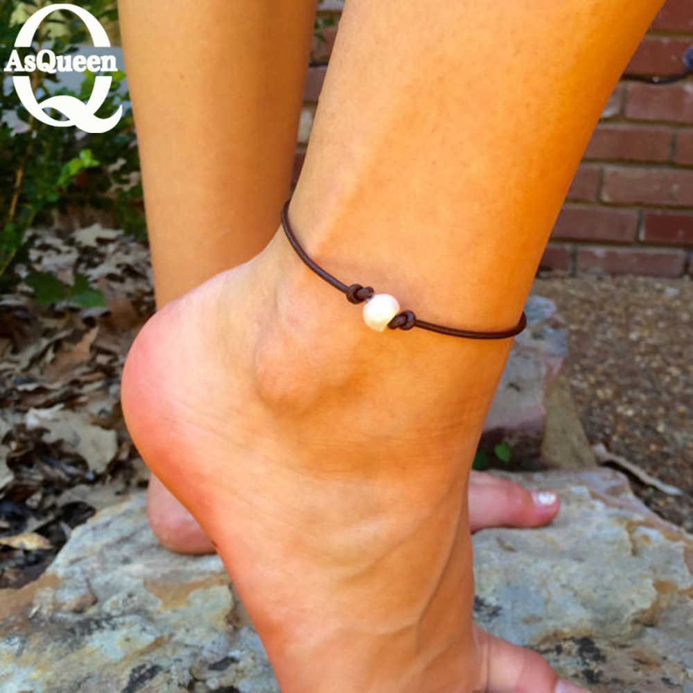 2016 Freshwater Pearl Pendant Ankle Bracelet rope Chain Link Beach Anklets Foot font b fine b