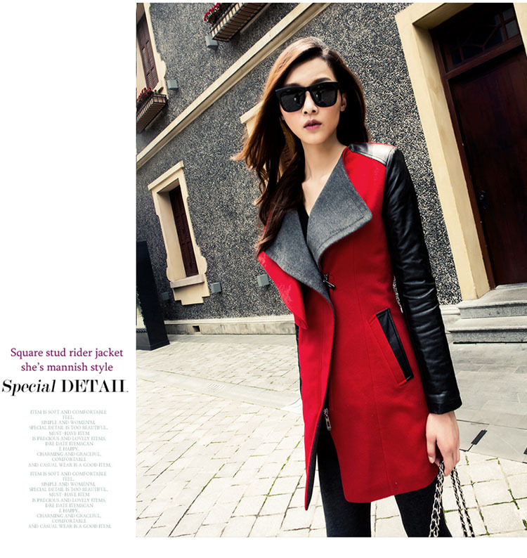 5b7043fa932 Plus Size Wholesale New 2017 Fashion Patchwork Womens Long Warm Wool PU  Leather Sleeve Jacket Coat Windbreaker Free Shipping-in Leather   Suede  from Women s ...