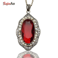 Szjinao new promotional antique ruby 925 sterling silver jewelry fashion natural pearl pendant woman wholesale