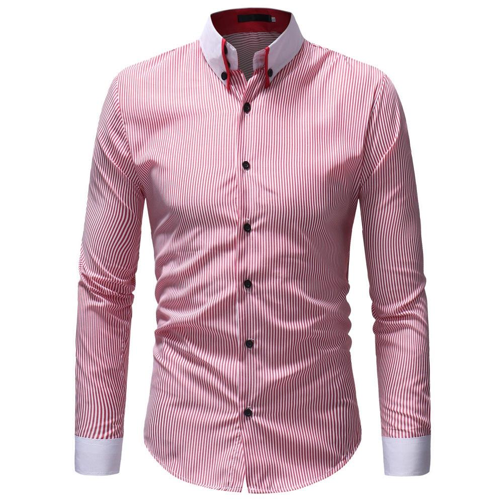 a1802045 Casual Shirts Men Oxford Slim Fit Shirt Men's Autumn Winter Casual ...