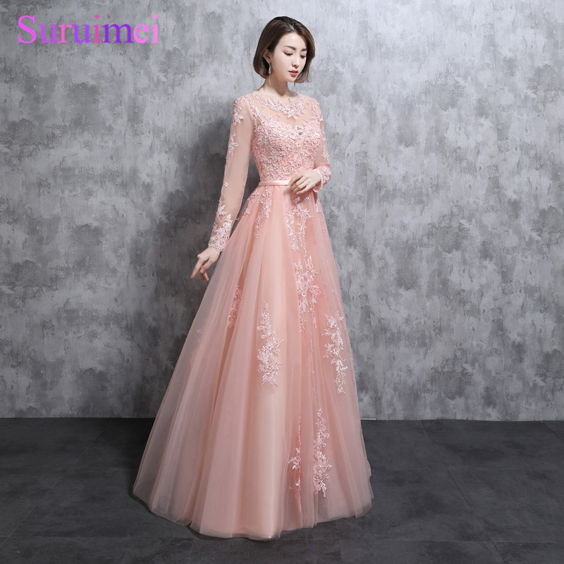 Real Photo Long Sleeves   Prom     Dresses   High Neck Lace Applique Tulle Pearl Pink See Through Peach Evening Gown