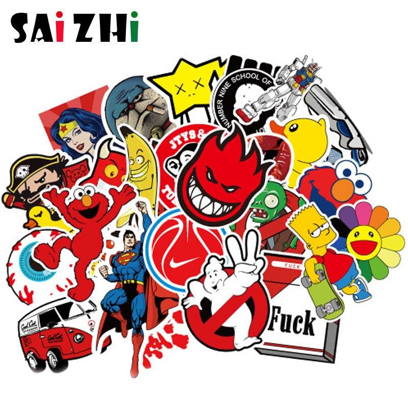 Saizhi 50 pcs Classic Fashion Style cool Punk Graffiti Stickers For Motorcycle & suitcase Toys Waterproof Skateboard sticker