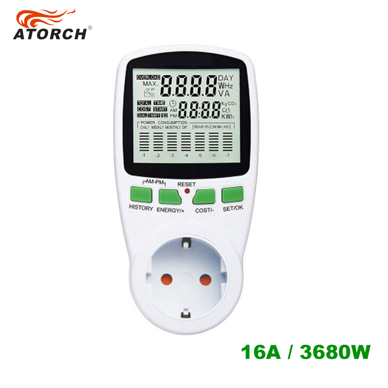 ATORCH EU AC analyzer power meter digital wattmeter energy watt Calculator monitor electricity consumption Measuring socket цена