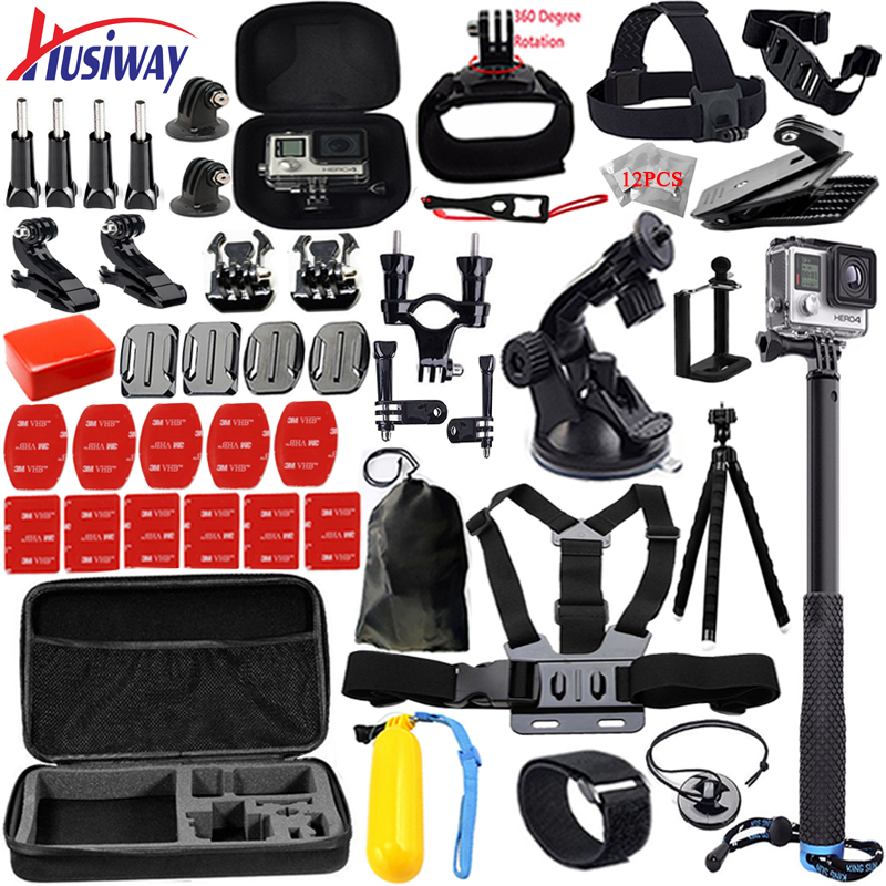 Husiway Support Gopro accessories set for go pro hero 5 4 3 kit Three way selfie stick for Eken h8r / xiaomi yi EVA case 13K ноутбук dell vostro 5468 5468 1083 5468 1083