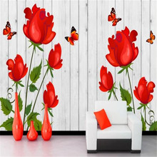 Classic 3D Wall Paper for Walls Red Roses Non-Woven