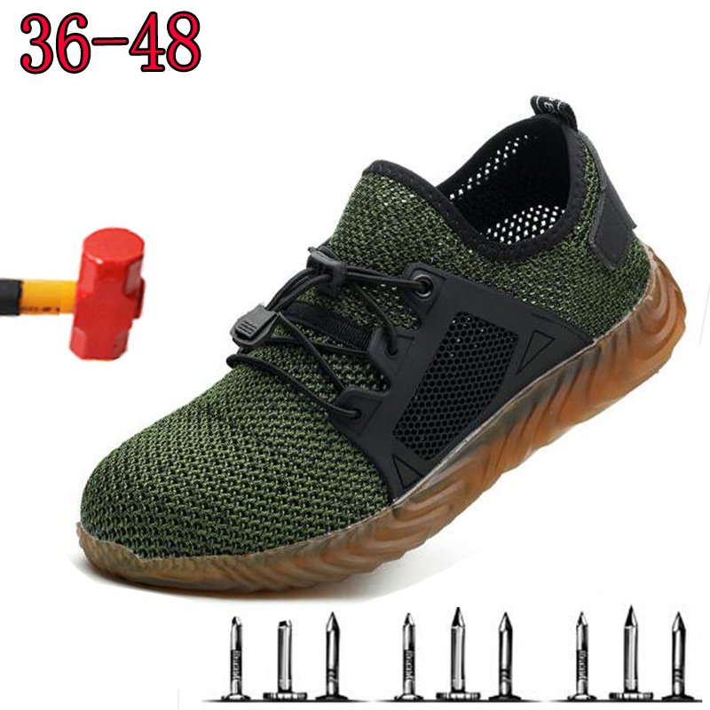 SAFETY SHOES Dropshipping Men And Women Steel Toe Air Safety Boots Indestructible Shoes Puncture-Proof Work Sneakers Breathable