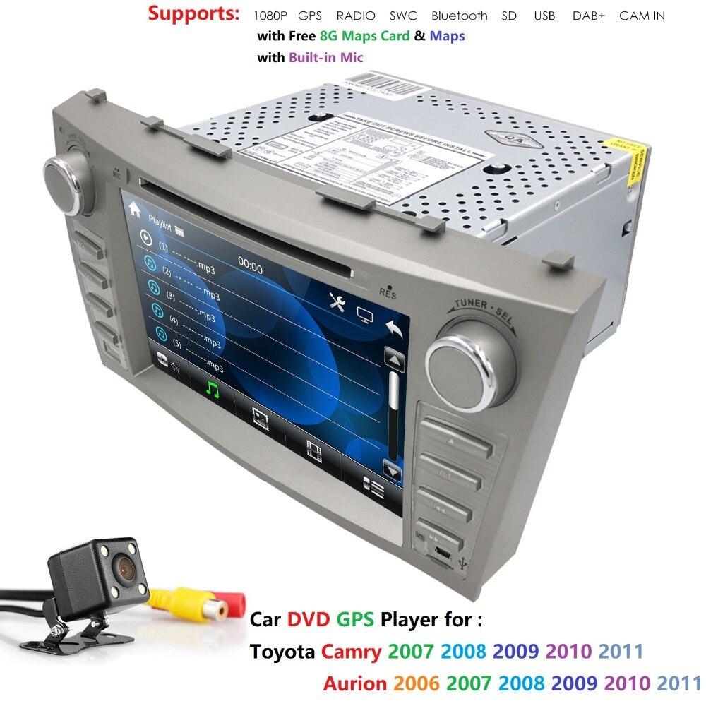 Voiture gps navigation voiture dvd pour Toyota camry 2008 2009 2010 2011 dab dvbt radio bluetooth 2 din voiture stéréo RDS volant CAM