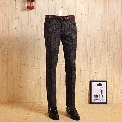 Высокое качество весна-осень мужской тонкий в Корейском стиле; Повседневный утепленный темно-серого цвета и полосатыми штанишками с деловой, Свадебный, для жениха костюмы длинные штаны - Цвет: deep grey