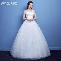 YC B22#Ball Gown Autumn new 2019 O Neck Bride's wedding dress white long Dresses slim lace up wholesale cheap women clothing